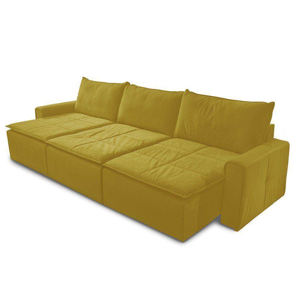 Sofá Retrátil 5 Lugares Luxo 308cm Suede Animale Amarelo - Gran Belo