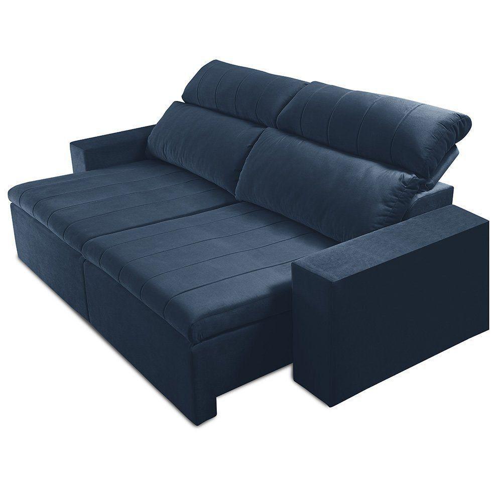 Sofá Retrátil e Reclinável 3 Lugares Raya 250cm Suede Animale Azul - Gran Belo