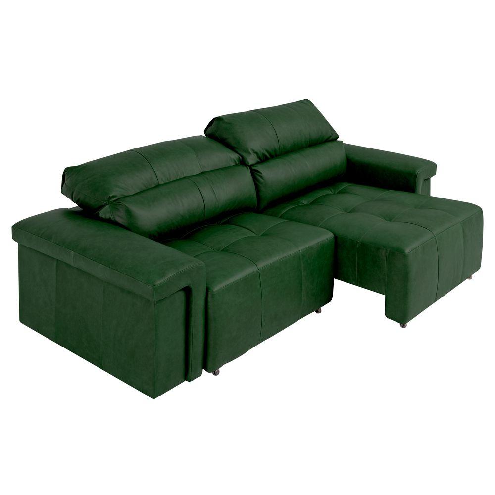 Sofá Retrátil e Reclinável 5 Lugares Maitê 296 cm Couro Verde - Gran Belo