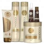 Kit Haskell Mandioca - Shampoo, Condicionador, Máscara 500g, Leave In, Reparador e Nectavita