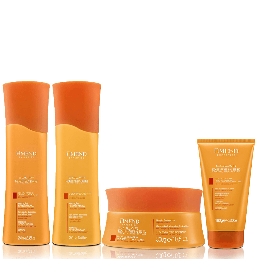 Kit Amend Solar Defense Anti Danos - Shampoo, Condicionador, Mascara de Tratamento e Leave-In