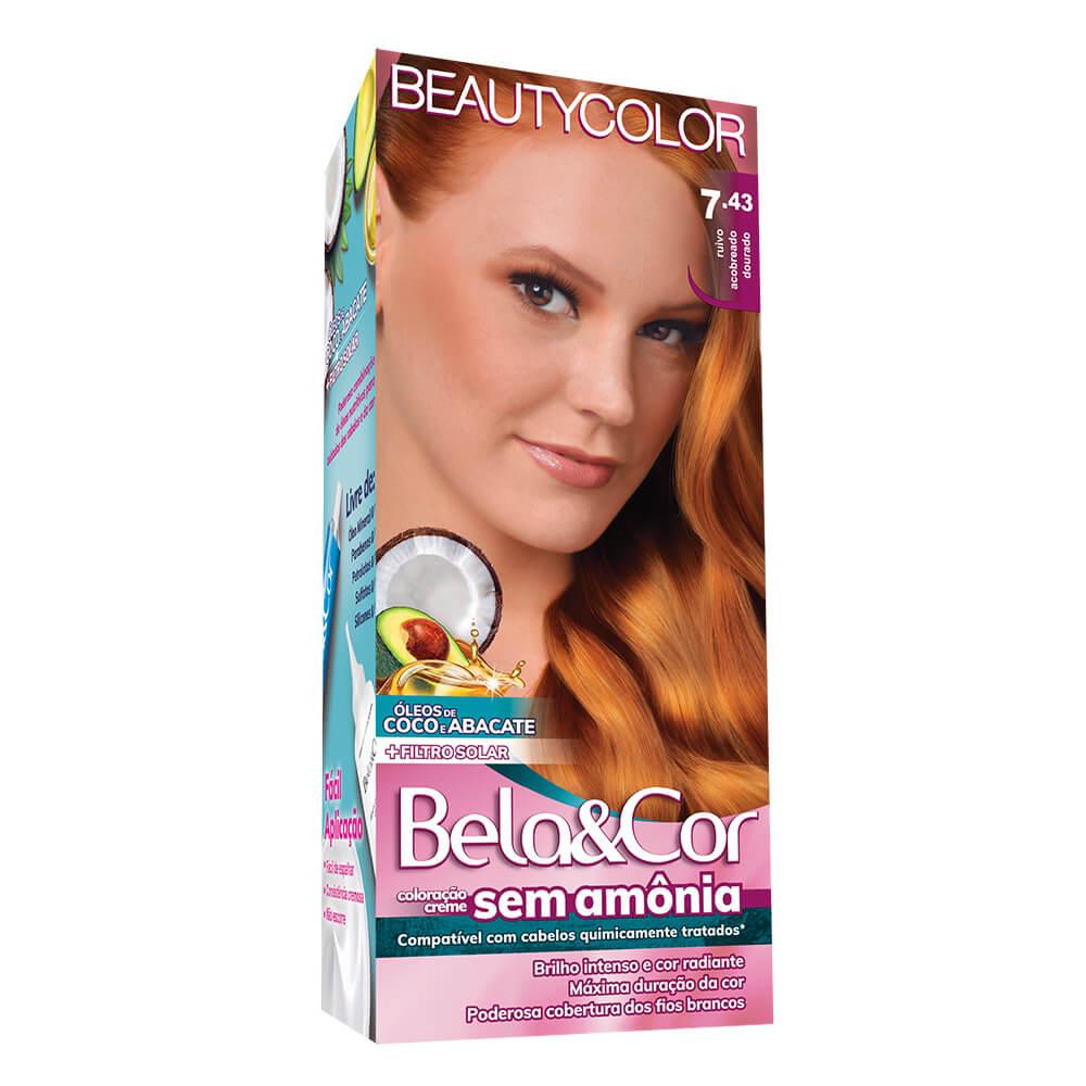 Kit BeautyColor Bela&Cor Sem Amônia 7.43 Ruivo Acobreado Dourado