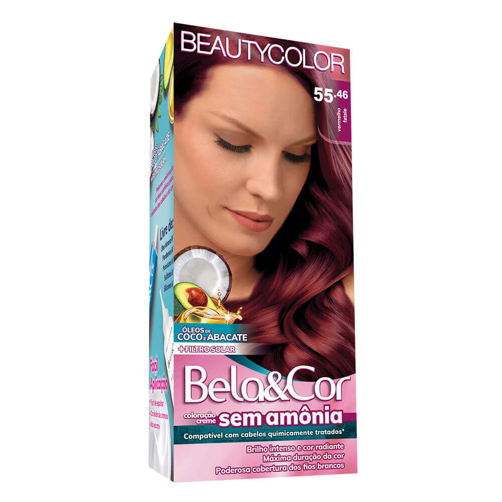 Kit Beauty Color Bela&Cor Sem Amônia 55.46 Vermelho fatale