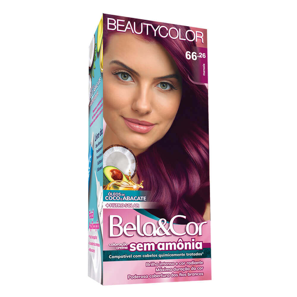 Kit Beauty Color Bela&Cor Sem Amônia 66.26 Marsala