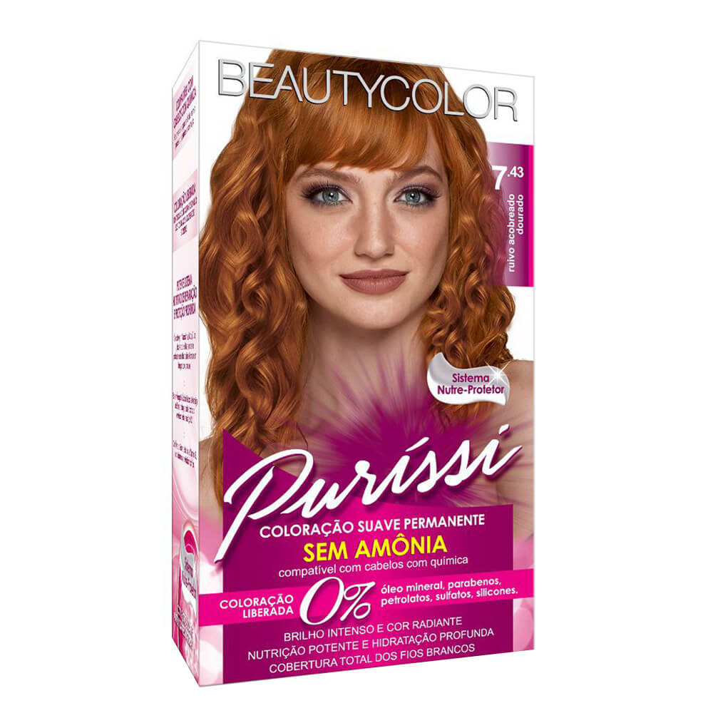 Kit BeautyColor Puríssi 7.43 Sem Amônia - Ruivo Acobreado Dourado