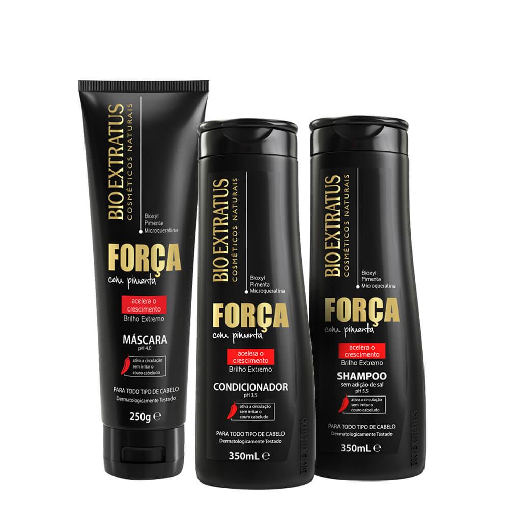 Kit Bio Extratus Força com Pimenta Acelerador de Crescimento - Shampoo, Condicionador e Máscara