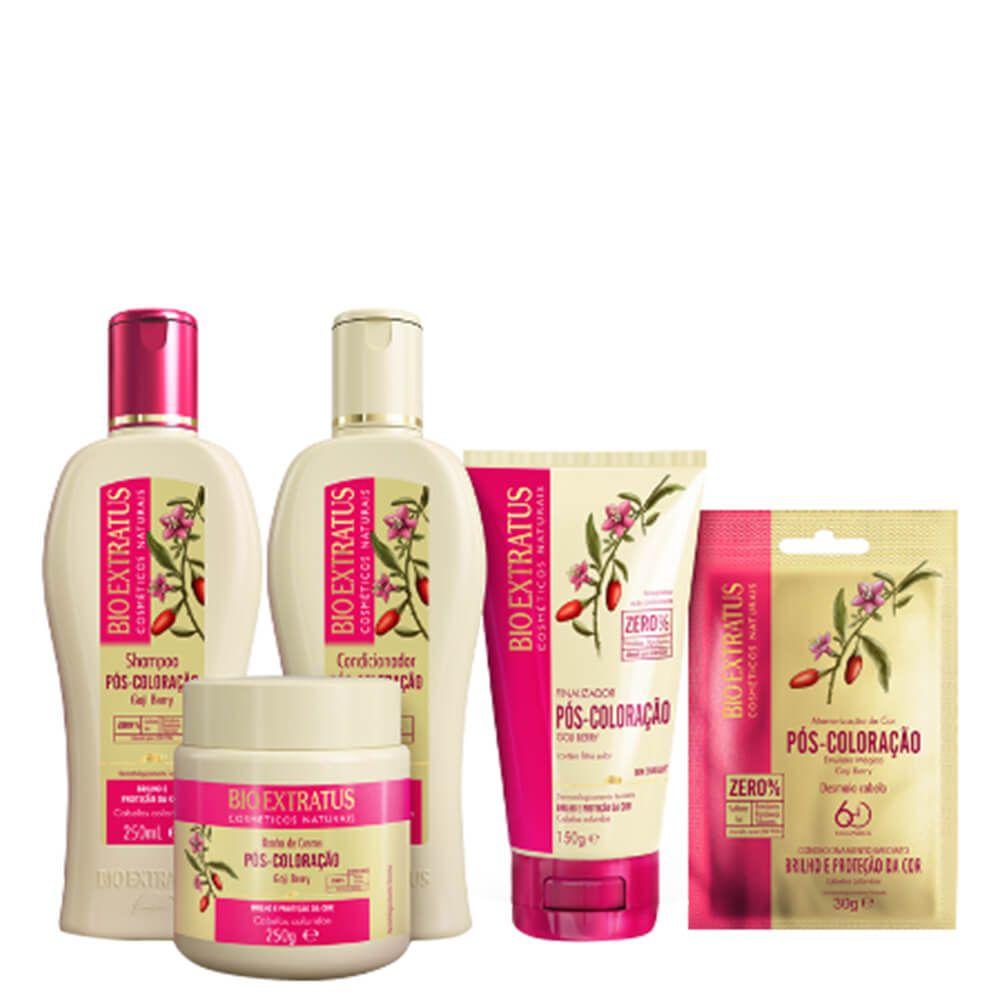 Kit Bio Extratus Pós Coloração - Shampoo, Condicionador, Banho de Creme, Finalizador e Emulsão Mágica