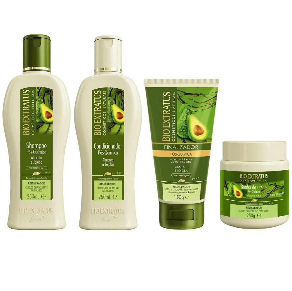 Kit Bio Extratus Pós Química - Shampoo, Condicionador, Banho de Creme e Finalizador