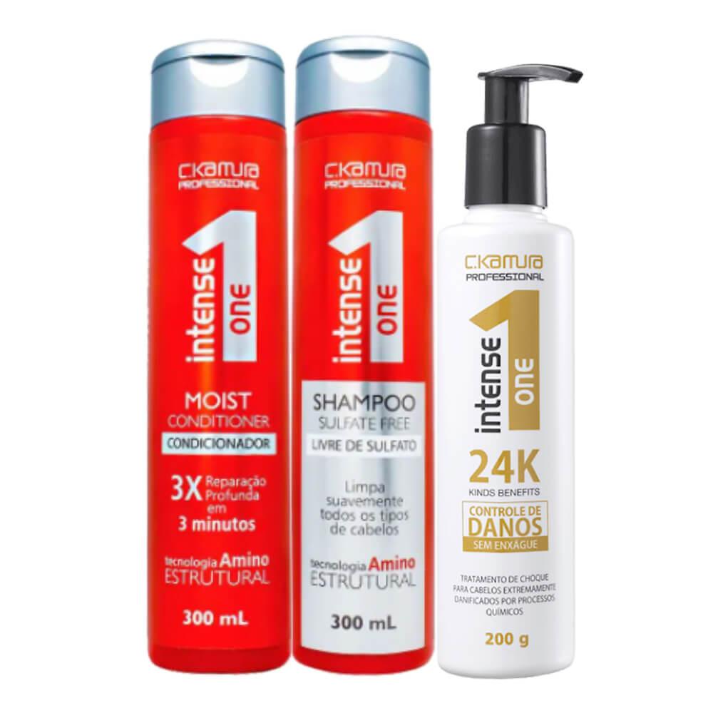Kit C.Kamura Intense One 24K - Shampoo, Condicionador e Leave-In