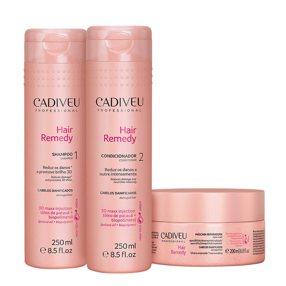 Kit Cadiveu Hair Remedy Home Care - Shampoo, Condicionador e Máscara de Tratamento