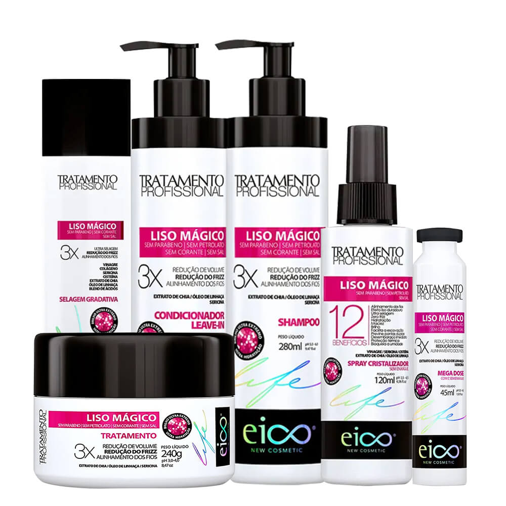 Kit Eico Liso Mágico Profissional - Shampoo, Condicionador, Máscara, Ampola, Selagem e Spray Cristalizador