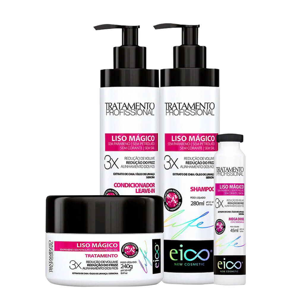 Kit Eico Liso Mágico Profissional - Shampoo, Condicionador, Máscara e Ampola