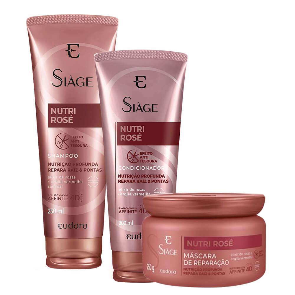 Kit Eudora Nutri Rosé - Shampoo, Condicionador e Máscara
