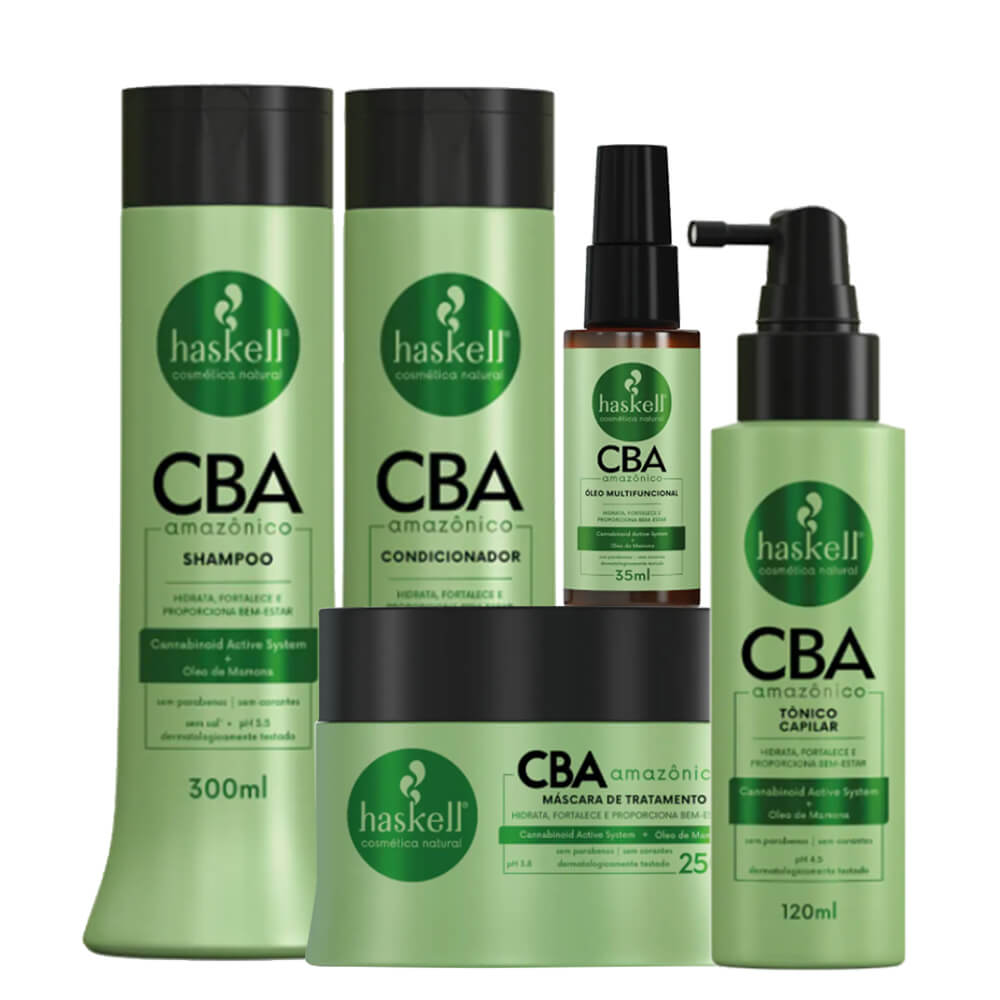 Kit Haskell CBA Amazônico - Shampoo, Condicionador 300ml, Máscara 250g, Óleo Multifuncional e Tônico Capilar