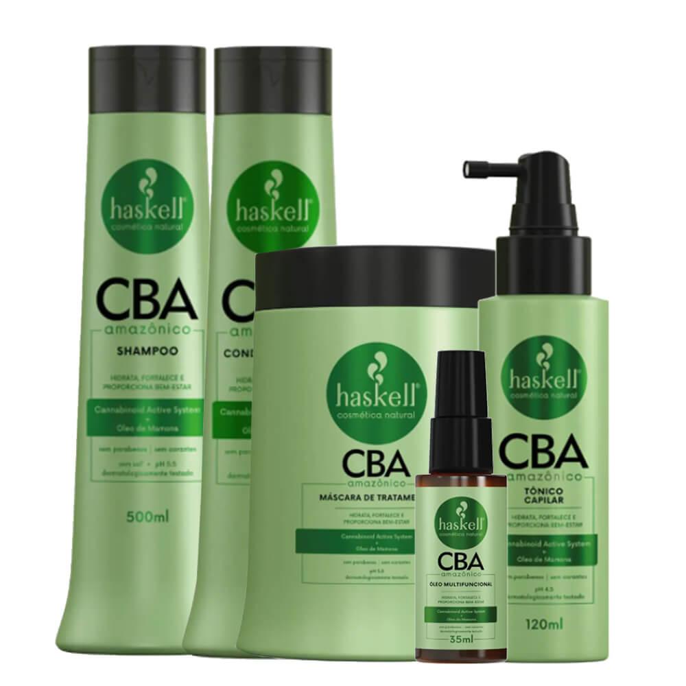 Kit Haskell CBA Amazônico - Shampoo, Condicionador, Máscara 500g, Óleo Multifuncional e Tônico Capilar