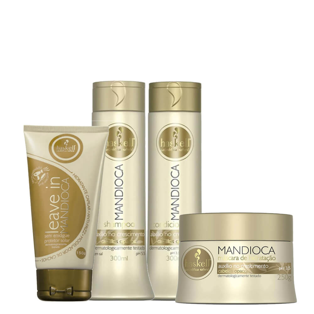 Kit Haskell Mandioca - Shampoo, Condicionador 300ml, Máscara 250g e Leave In