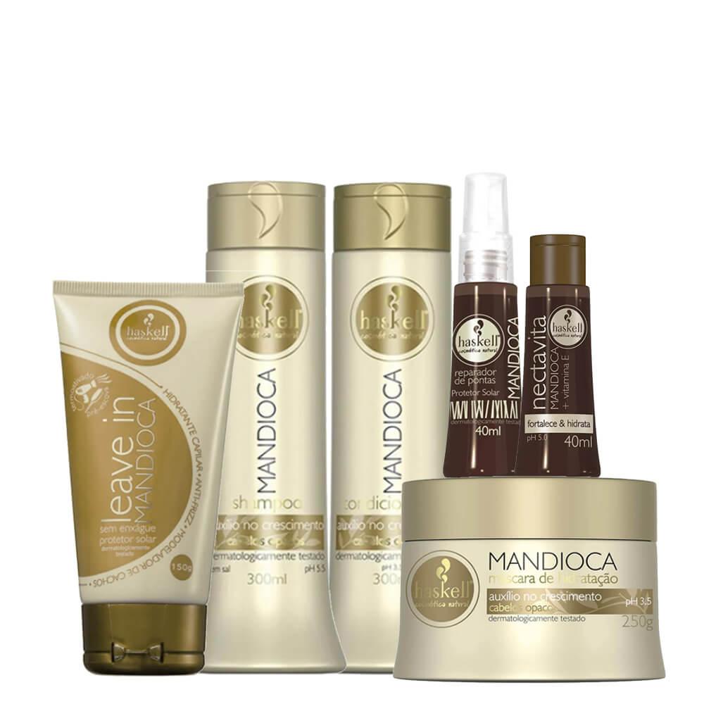 Kit Haskell Mandioca - Shampoo, Condicionador 300ml, Máscara 250g, Leave In, Reparador e Nectavita