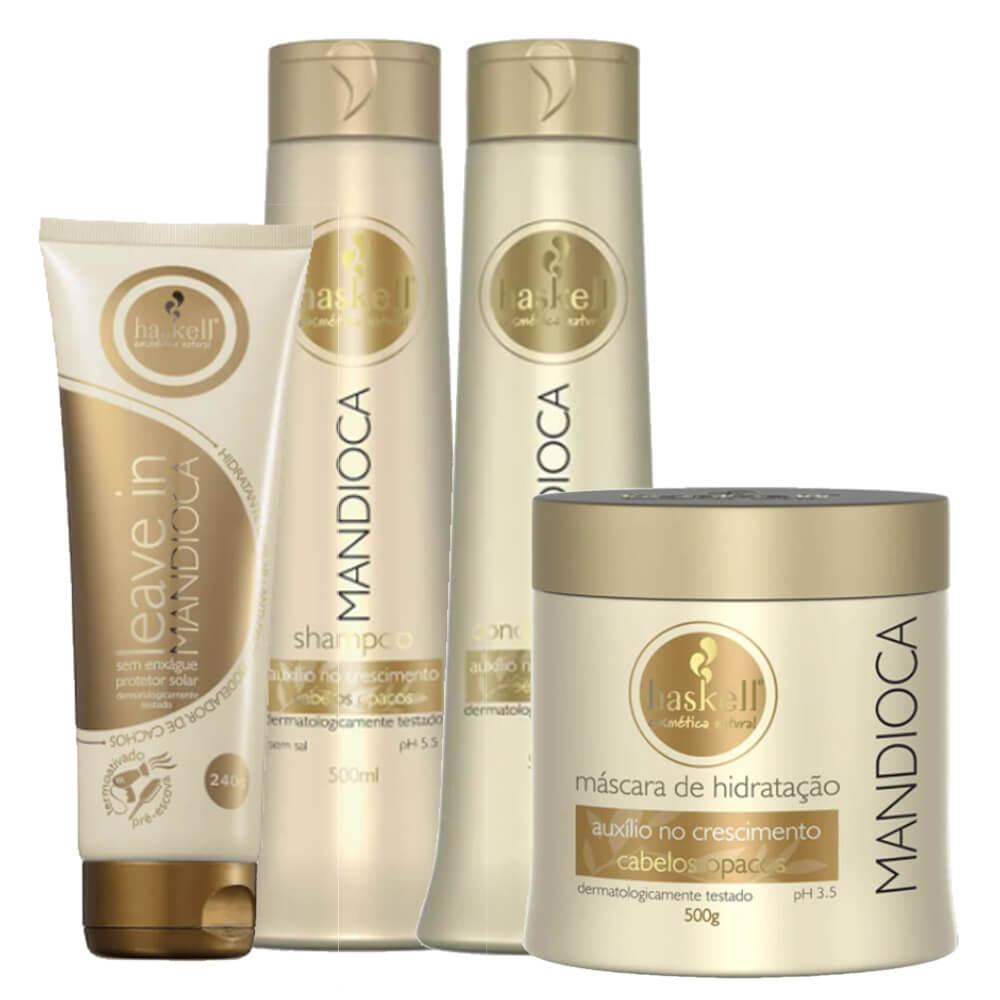 Kit Haskell Mandioca - Shampoo, Condicionador, Máscara 500g e Leave In