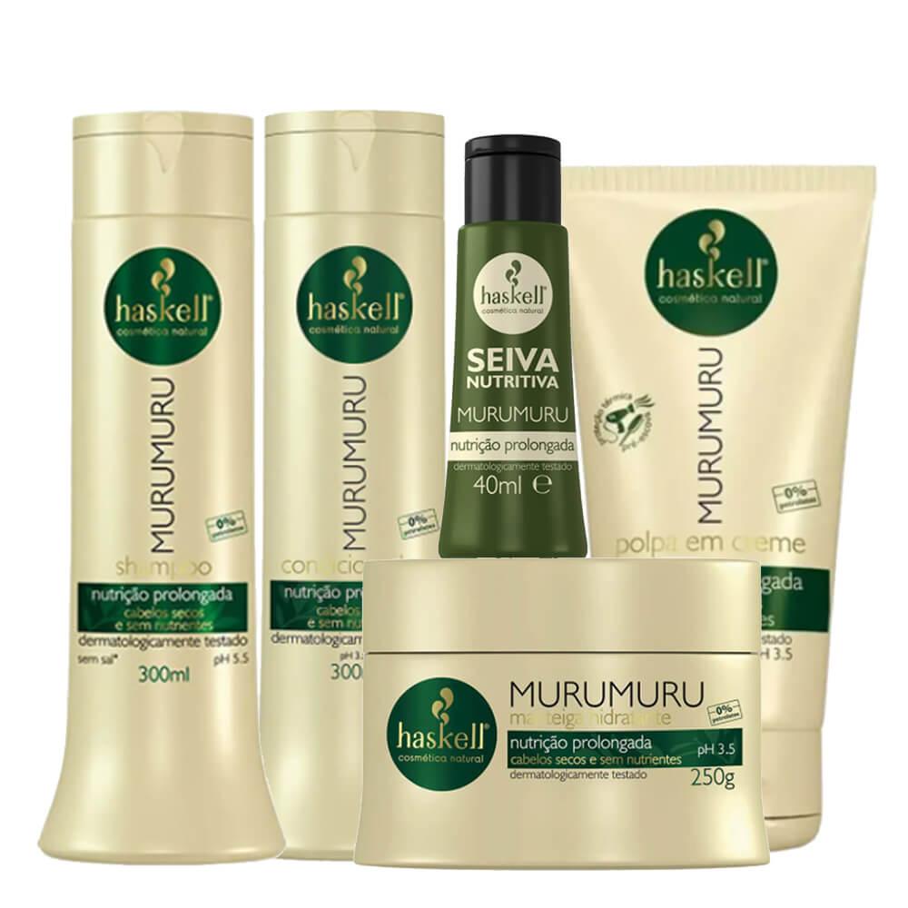 Kit Haskell Murumuru - Shampoo, Condicionador 300ml, Máscara 250g, Leave In e Seiva Nutritiva