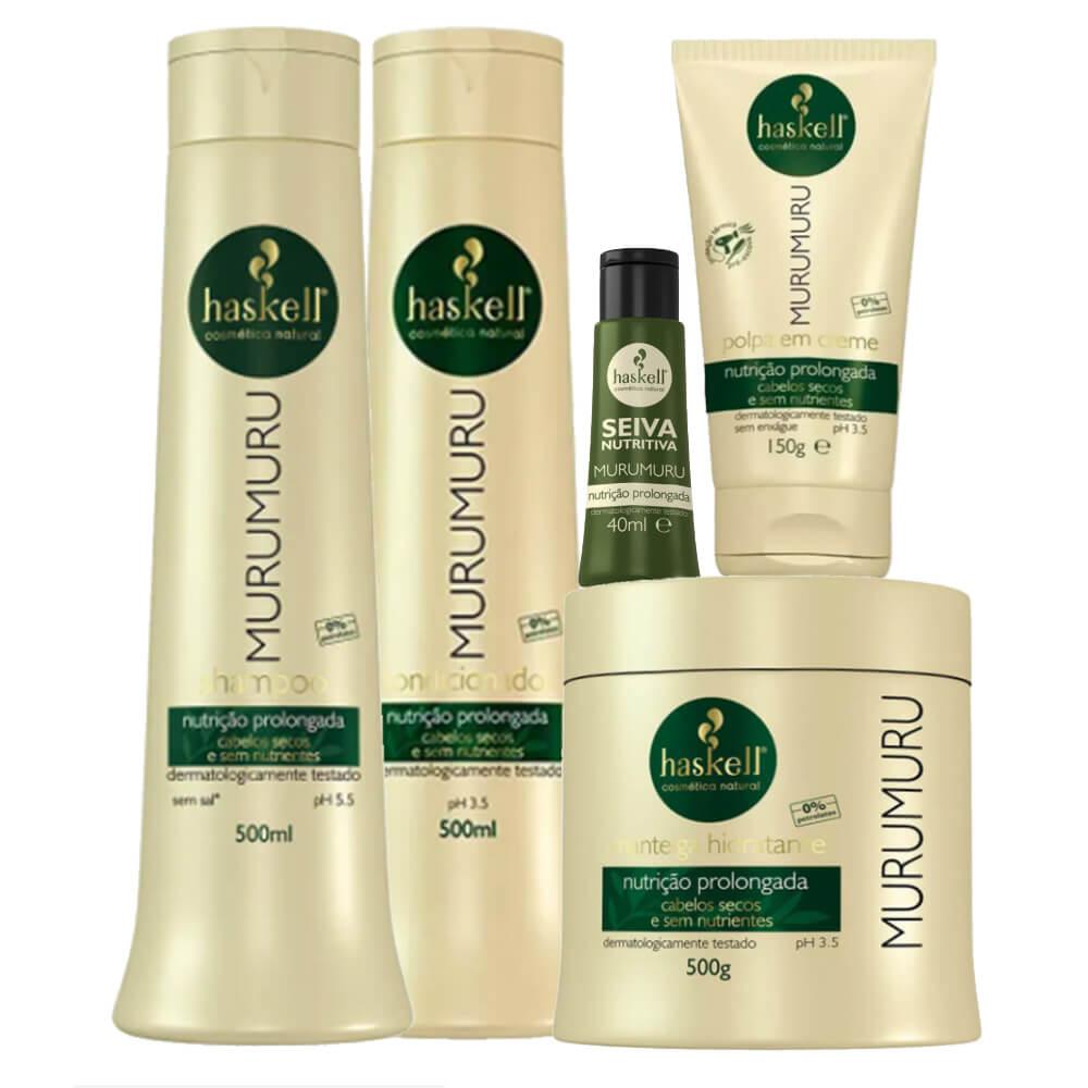 Kit Haskell Murumuru - Shampoo, Condicionador, Máscara 500g, Leave In e Seiva Nutritiva