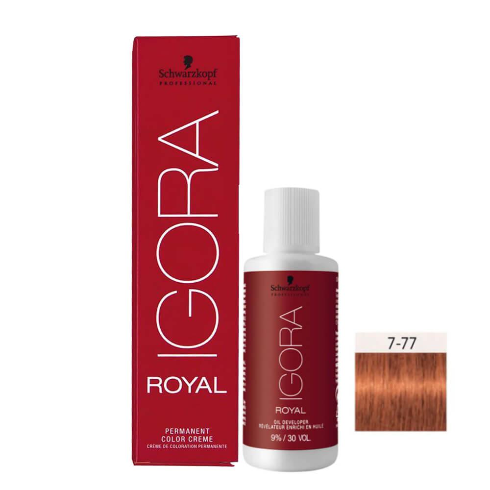 Kit Igora Royal HD 7-77 e Oxigenada 30vol 9%