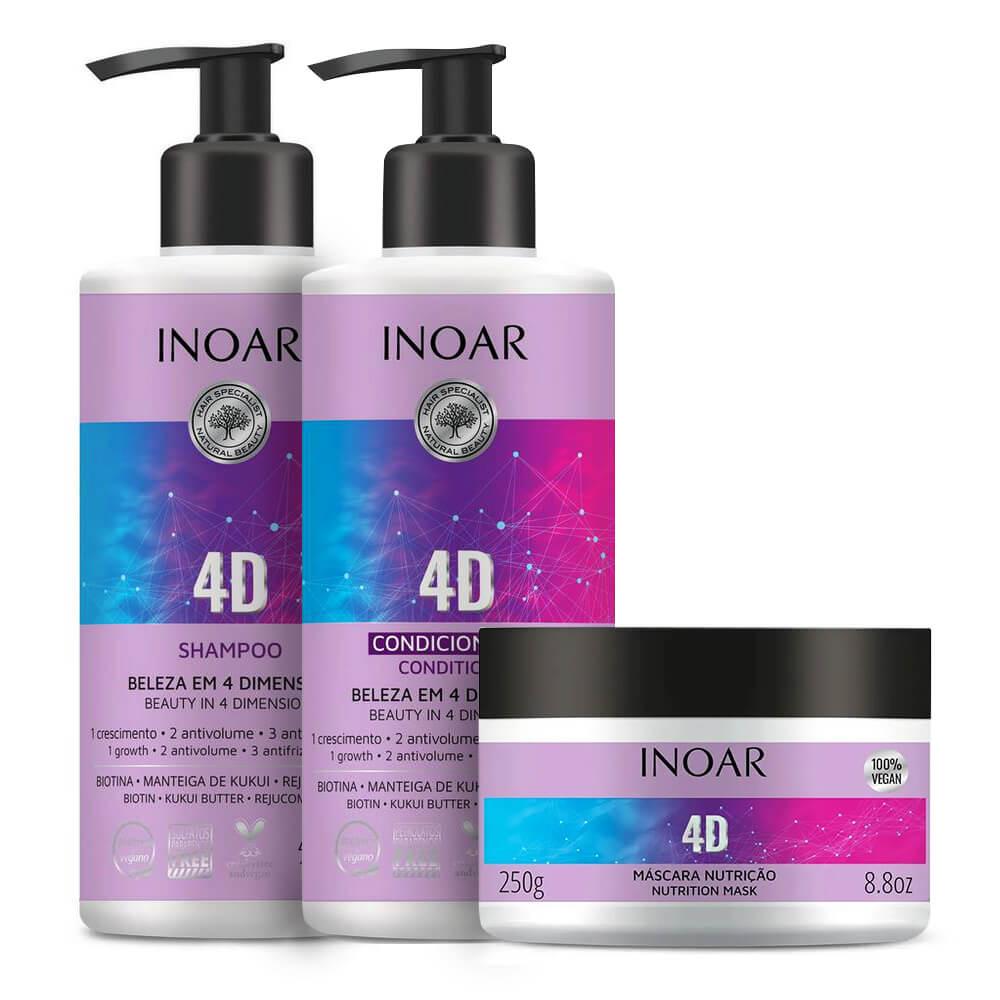 Kit Inoar 4D - Shampoo, Condicionador e Máscara