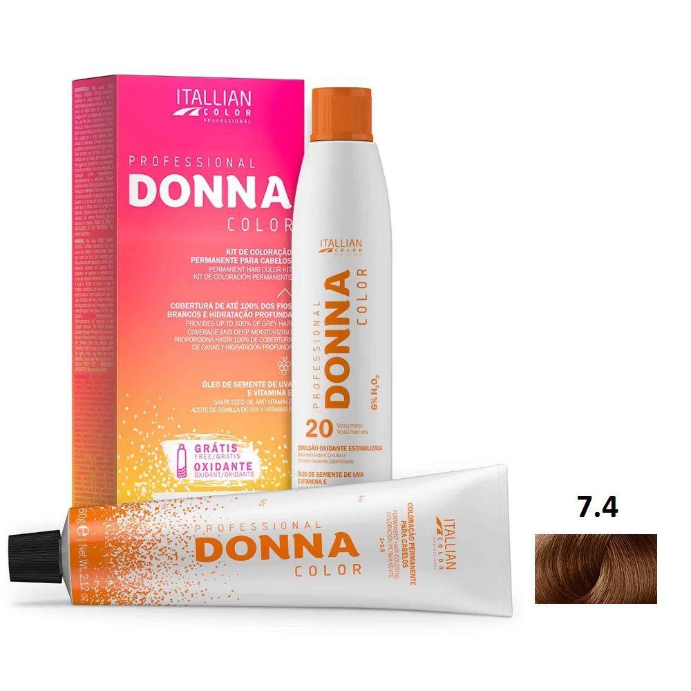 Kit Itallian Donna Color 7.4 Louro Cobre