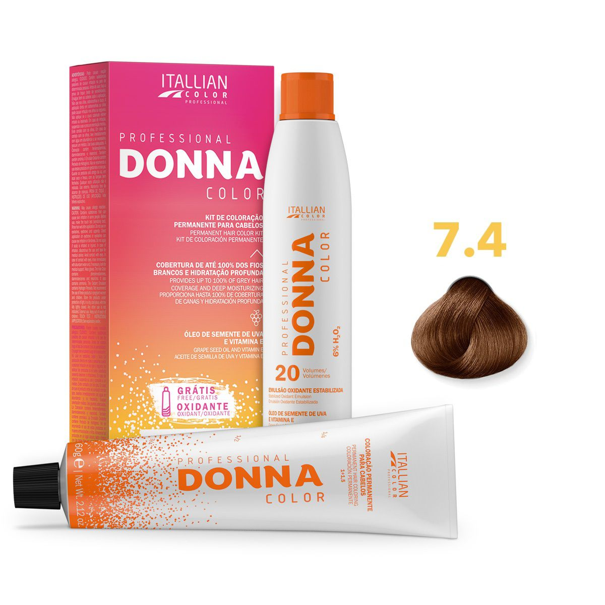 Kit Professional Donna Color 7.4 Louro Cobre