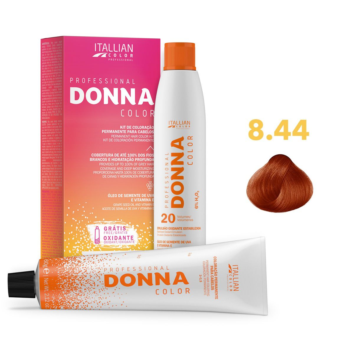 Kit Professional Donna Color 8.44 Louro Cobre Intenso