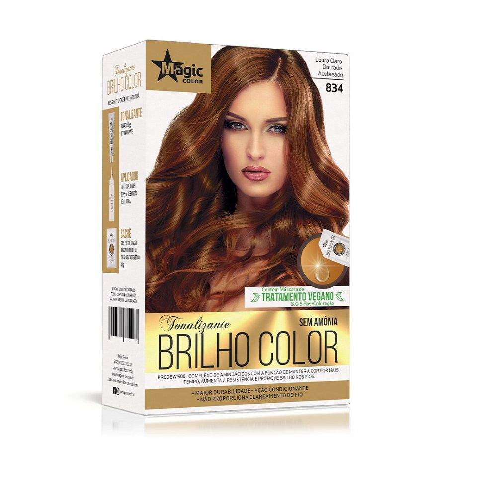Kit Magic Color Tonalizante Brilho Color 8.34 - Louro Médio Acobreado Dourado