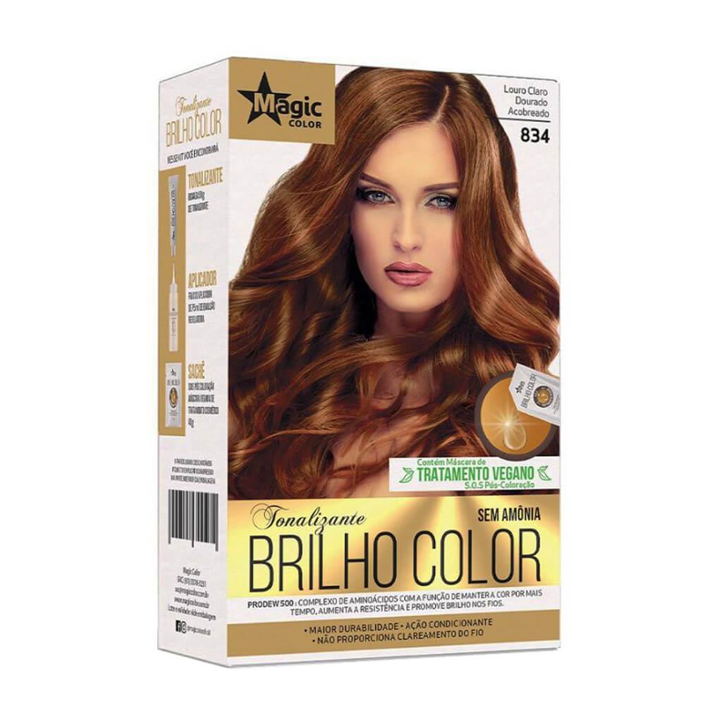 Kit Magic Color Tonalizante Brilho Color 8.34 - Louro Médio Acobreado Dourado