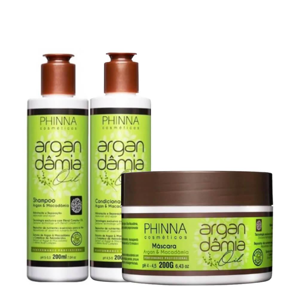 Kit Phinna Argan Dâmia Oil - Shampoo, Condicionador e Máscara