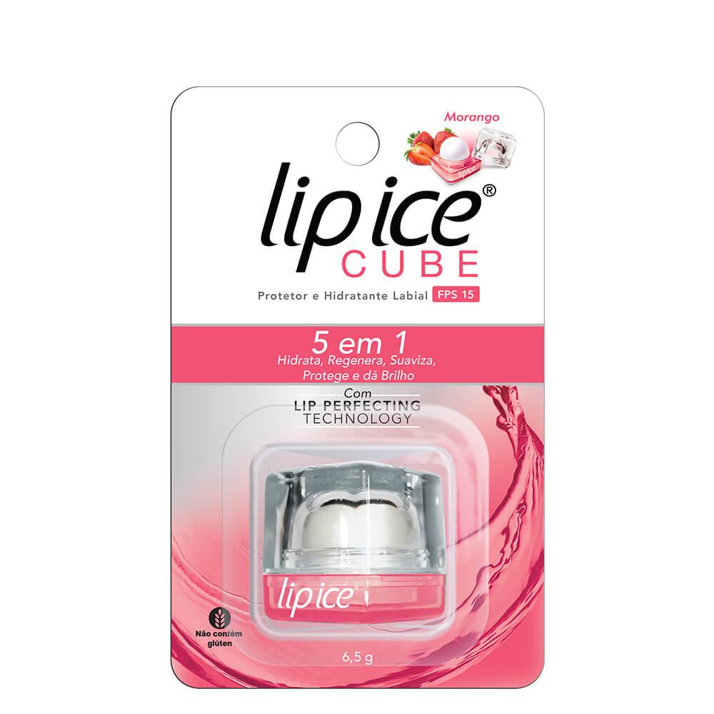Lip Ice Protetor e Hidratante Labial Cube FPS 15 - Morango