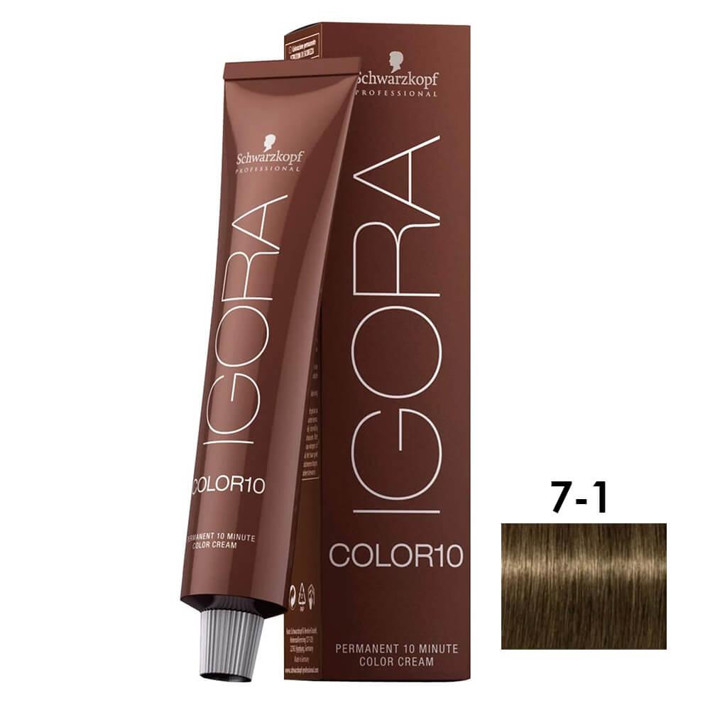 Schwarzkopf Igora Color10 7-1 Louro Médio Cinza - 60ml