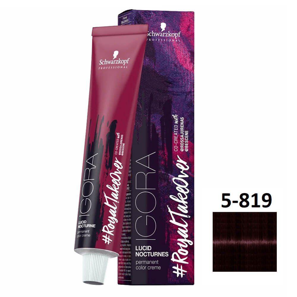 Schwarzkopf Igora #RoyalTakeOver Lucid Nocturnes 5-819 Castanho Claro Vermelho Cinza Violeta - 60g