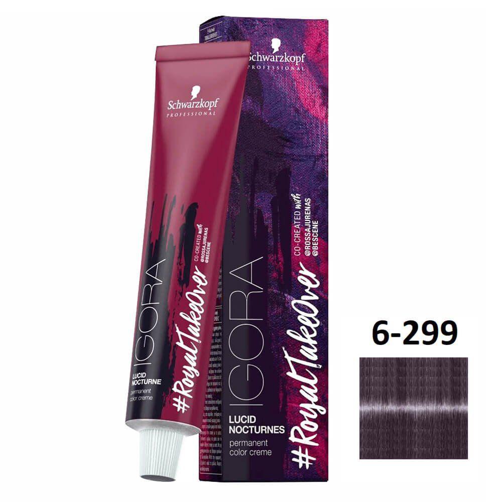 Schwarzkopf Igora #RoyalTakeOver Lucid Nocturnes 6-299 Louro Escuro Fumê Violeta Extra - 60g