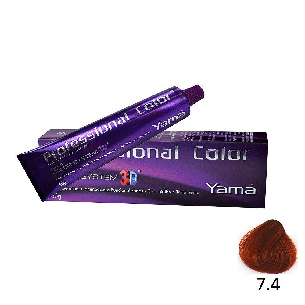 Yamá Professional Color 3D 7.4 Louro Médio Acobreado - 60g