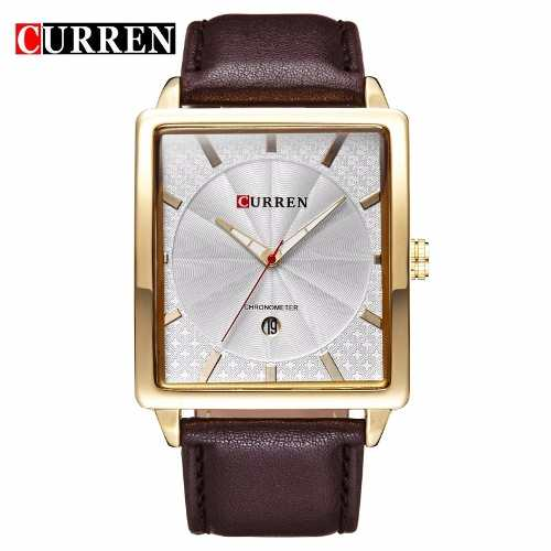 Relógio Masculino Curren Analógico 8117 Dourado E Marrom
