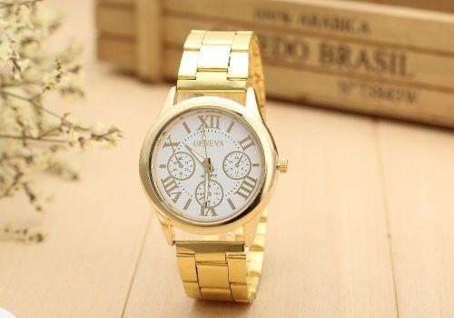 Lindo Relógio Feminino Dourado Luxo Casual Geneva Elegante