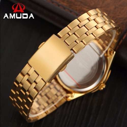 Relógio Dourado Preto Masculino Amuda Luxo - Modelo Am2012