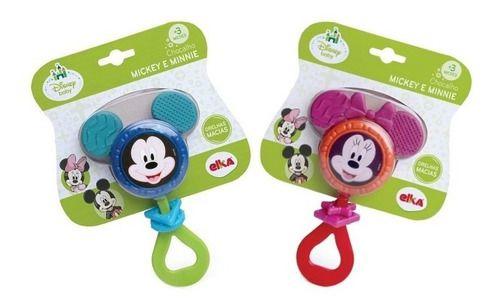 Mordedor Chocalho Mickey Mouse Minnie Disney Macio Elka