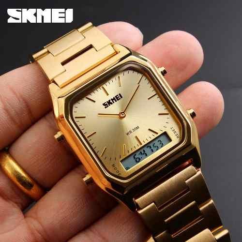 Relógio Unissex Analógico Digital Dourado Skmei 1220