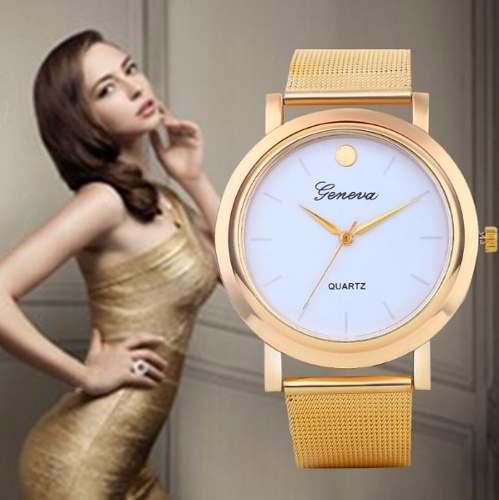 Lindo Relógio Feminino Dourado Luxo Clássico Geneva Elegante