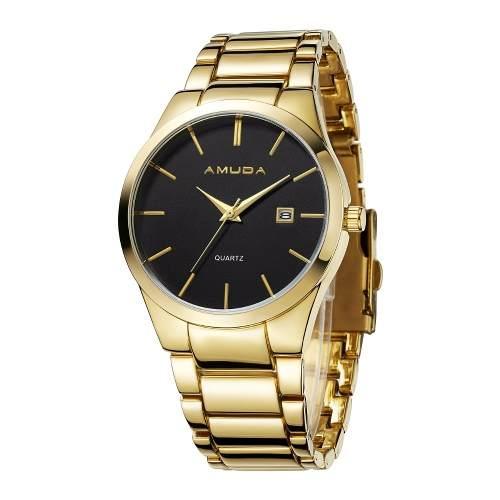 Relógio Amuda Casual Masculino Original Modelo Am2001 Ouro