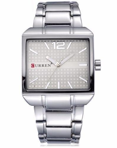 Relógio Masculino Quadrado Aço Inox Curren 8132 Prata