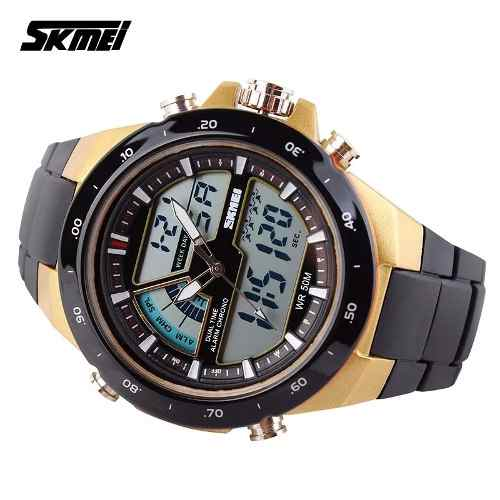 Relógio Skmei 1016 Dourado Masculino Esportivo Militar 5atm