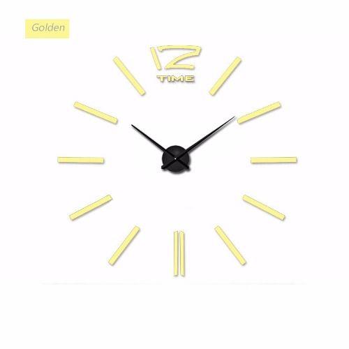 Relógio Parede Sala Grande Espelho Adesivo Decoração Dourado