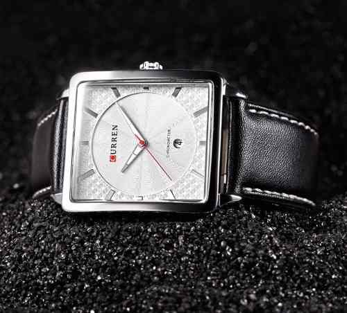 Relógio Couro Curren Analógico 8117 Prata Aço Inoxidável