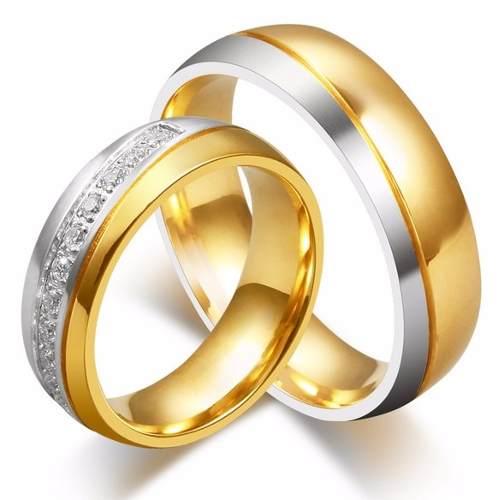 Par Alianças Banhadas Ouro Com Zircônias Brilhantes Oferta!