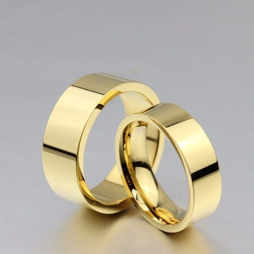 Aliança De Aço Noivado Casamento Banhado Ouro 18k